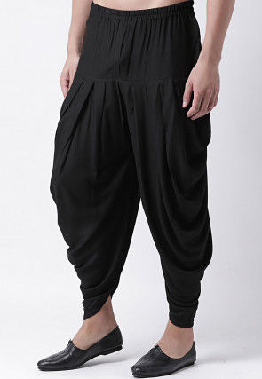 Solid Color Rayon Dhoti Pant in Black