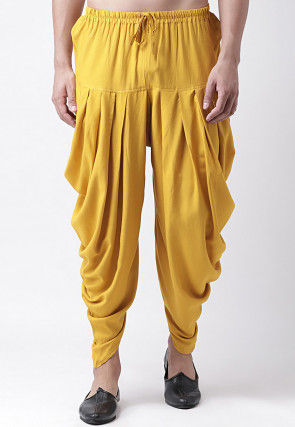Solid Color Rayon Dhoti Pant in Mustard
