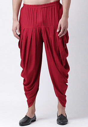 Solid Color Rayon Dhoti Pant in Red