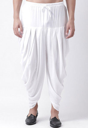 Solid Color Rayon Dhoti Pant in White