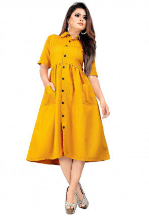 Solid Color Rayon Dress in Mustard