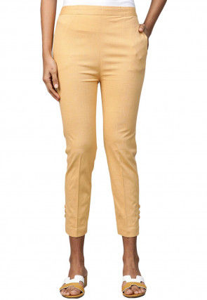 Solid Color Rayon Flex Pants in Beige