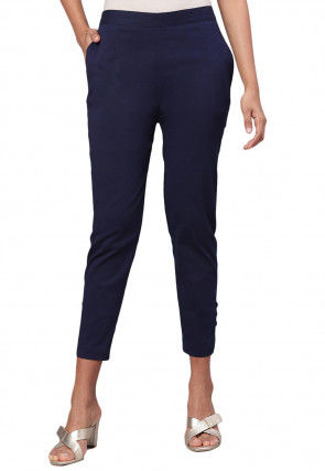Solid Color Rayon Flex Pants in Navy Blue