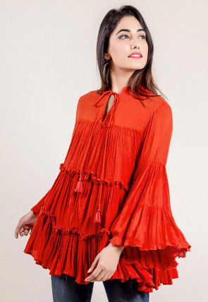 Solid Color Rayon Frilled Top in Orange