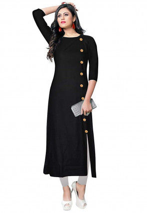 Solid Color Rayon Front Slit Kurta Set in Black
