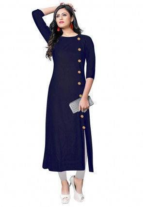 Solid Color Rayon Front Slit Kurta Set in Navy Blue