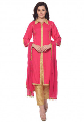 Solid Color Rayon Front Slit Pakistani Suit in Pink