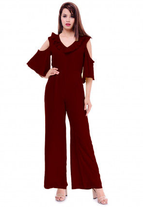 Solid Color Rayon Jumpsuit in Maroon