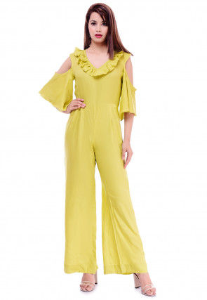 Solid Color Rayon Jumpsuit in Neon Green