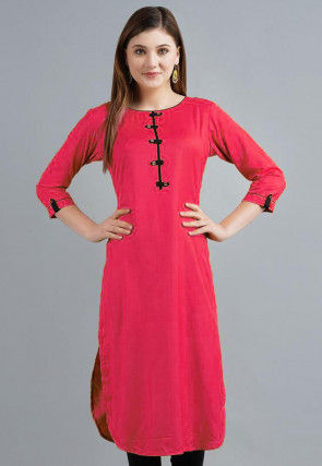Solid Color Rayon Kurta in Fuchsia