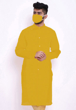Solid Color Rayon Kurta in Mustard
