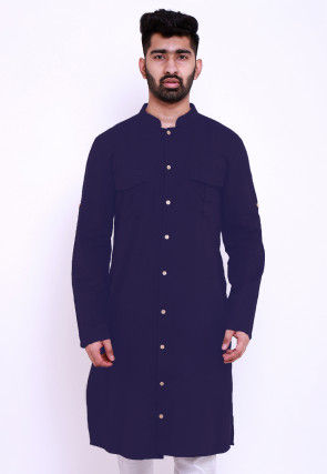 Solid Color Rayon Kurta in Navy Blue