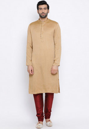 Solid Color Rayon Kurta Set in Beige