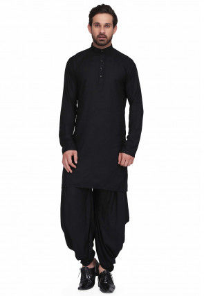 Solid Color Rayon Kurta Set in Black