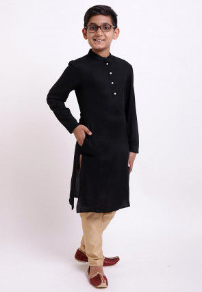 Solid Color Rayon Kurta Set in Black