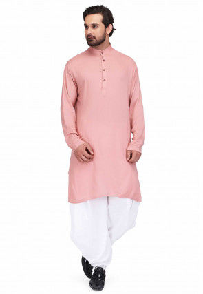 Solid Color Rayon Kurta Set in Dusty Pink