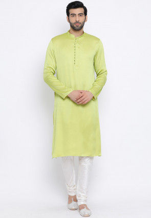 Solid Color Rayon Kurta Set in Light Neon Green