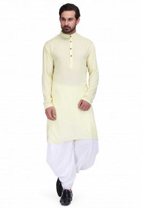 Solid Color Rayon Kurta Set in Light Yellow