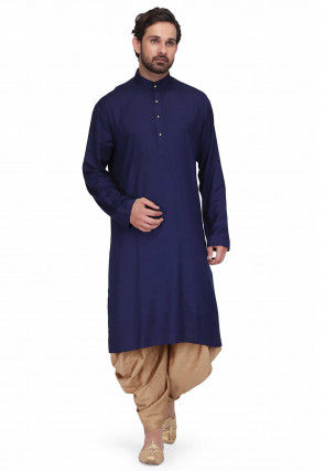Solid Color Rayon Kurta Set in Navy Blue