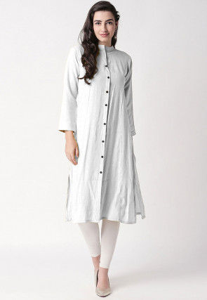Solid Color Rayon Kurta Set in Off White