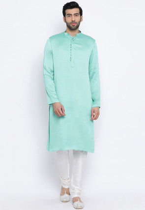 Solid Color Rayon Kurta Set in Pastel Green