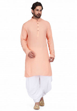 Solid Color Rayon Kurta Set in Peach Orange