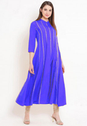 Solid Color Rayon Kurta Set in Royal Blue