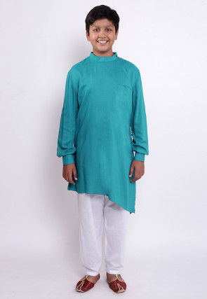 Solid Color Rayon Kurta Set in Teal Blue
