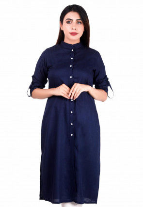 Solid Color Rayon Kurti Navy Blue