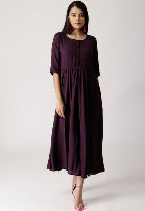 Solid Color Rayon Long Kurta in Wine