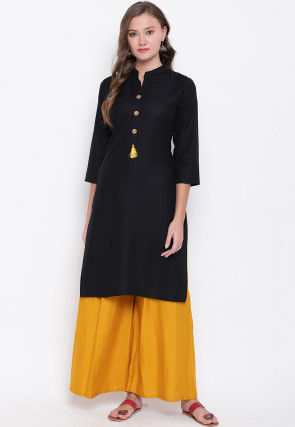 Solid Color Rayon Pakistani Suit in Black