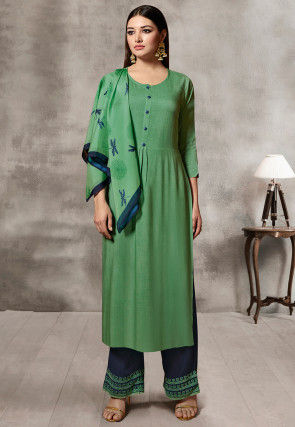 Solid Color Rayon Pakistani Suit in Green