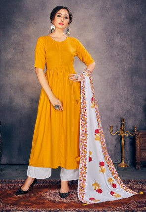 Solid Color Rayon Pakistani Suit in Mustard