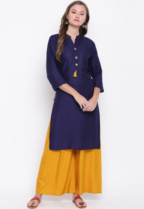 Solid Color Rayon Pakistani Suit in Navy Blue