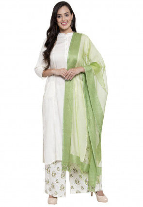 Solid Color Rayon Pakistani Suit in Off White