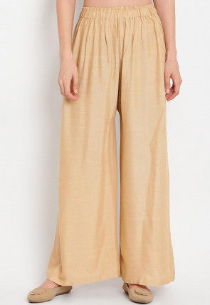 Solid Color Rayon Palazzo in Beige