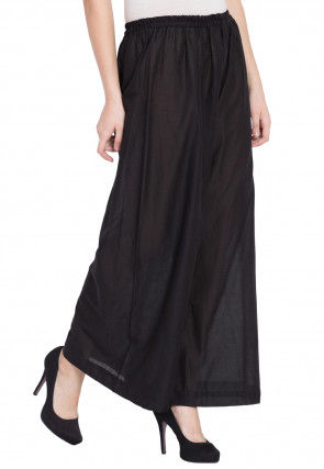 Solid Color Rayon Palazzo in Black