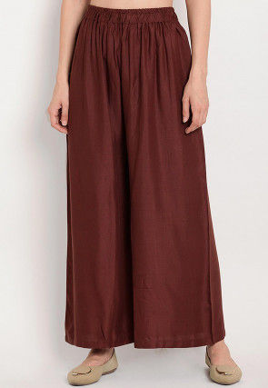 Solid Color Rayon Palazzo in Brown