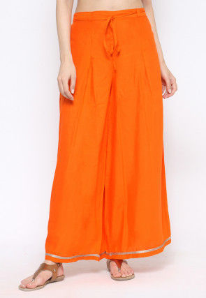 Solid Color Rayon Palazzo in Orange