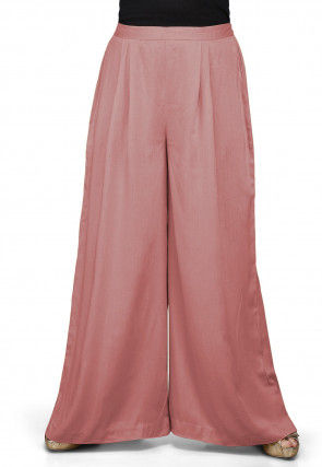 Solid Color Rayon Palazzo in Peach