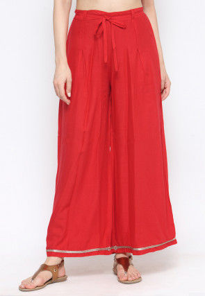 Solid Color Rayon Palazzo in Red