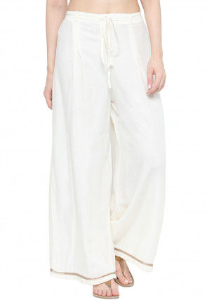 Solid Color Rayon Palazzo in White