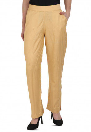 Solid Color Rayon Pant in Beige