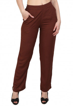 Solid Color Rayon Pant in Brown