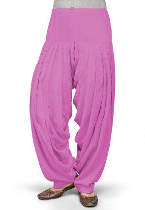 Solid Color Rayon Patiala in Pink