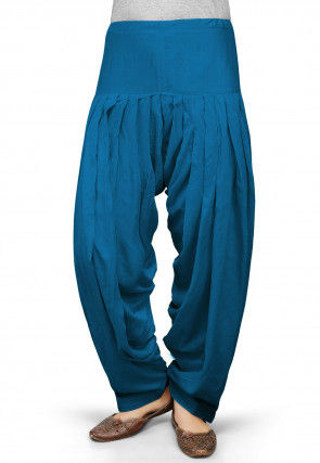 Solid Color Rayon Patiala in Teal Blue