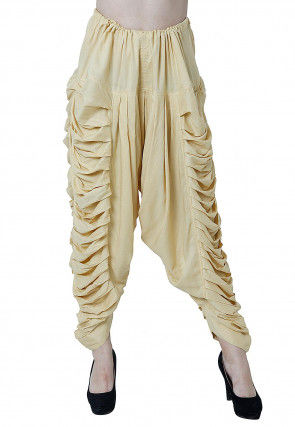 Solid Color Rayon Pleated Dhoti Pant in Beige