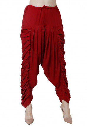 Solid Color Rayon Pleated Dhoti Pant in Maroon
