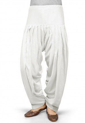 Solid Color Rayon Patiala in Off White