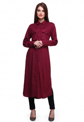 Solid Color Rayon Shirt Style Kurta in Wine